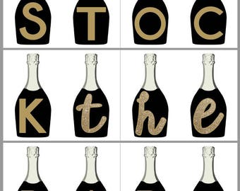 STOCK THE BAR | Printable Party Banner | Gold and Black