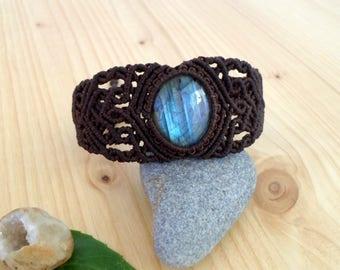 Labradorite macrame bracelet, macrame stone, gemstone bracelet, macrame jewelry, gypsy bracelet, labradorite jewelry, hippie bracelet