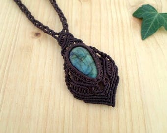 Labradorite macrame necklace, macrame jewelry, labradorite pendant, macrame stone, gemstone necklace, labradorite jewelry, tribal necklace