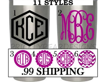 SALE Yeti Monogram Yeti Monogram Decal Ozark Decal Yeti Cup Monogram Yeti Monogram Sticker Monogram Cup (MANY SIZES) (Packs of 4 Avail.)