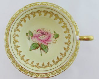 Vintage Tea Cup and Saucer with Hand Painted Rose, Spencer Stevenson, English Bone China, Rose Cup and Saucer