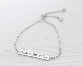 Adjustable Bolo Bracelet - Bar Bracelet - Adjustable Bracelet - Stainless Steel Jewelry - Engraved Bracelet - Engraved Jewelry - Kids Names