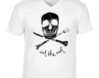 Eat the Rich Men's V Neck T-Shirt NEW