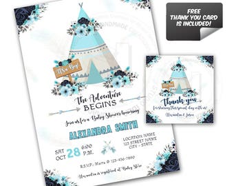 It's A Boy-Baby Shower-Teepee Custom Printable Invitation with FREE Thank you Matching Tag-DIY Digital File-Custom Baby Shower Invitation