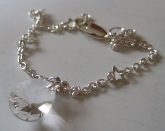 """7.5"""" Sterling Silver Star Chain Bracelet with Swarovski Elements Clear Crystal"""