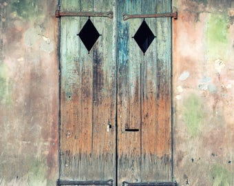 Old Door, Rustic Decor, Fine Art Print, Photography, New Orleans Art, French Quarter, Architecture, Wall Art, Sage Green, Browns
