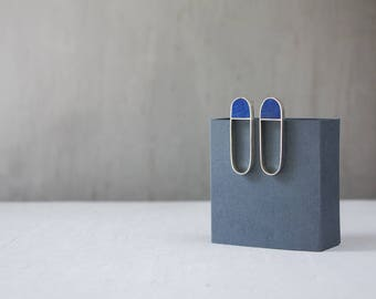 Sterling Silver Earrings / Silver and Wood Earrings / Geometric Earrings / Stud Earrings / Contemporary Jewelry / Gift for Her