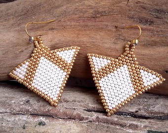 Earrings handwoven triangle white and gold glass Boho jewelry By Dodie