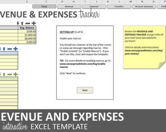 Revenue and Expenses Tracker - 2019 | Excel Business Profitability Template | Account Revenue and Expense Log | Instant Digital Download