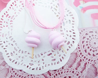 My cotton candy pink necklace pastel polymer clay