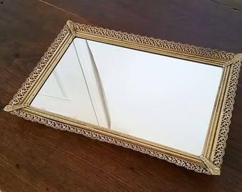 Mirror Tray, Gold Vanity Mirror Tray, Perfume Tray, Mirrored Tray, Vintage Vanity Mirror Tray