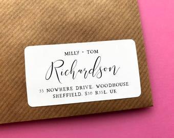 Elegant Address Sticker, Wedding Address Label, Modern Address Sticker, Wedding Address Label, Calligraphy Return Address, Address Sticker