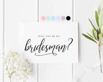 Will You Be My Bridesman, Bridesman Proposal Card, Bridesman Request Card, Be My Bridesman, Card For Bridesman, Male Bridesmaid Card Request