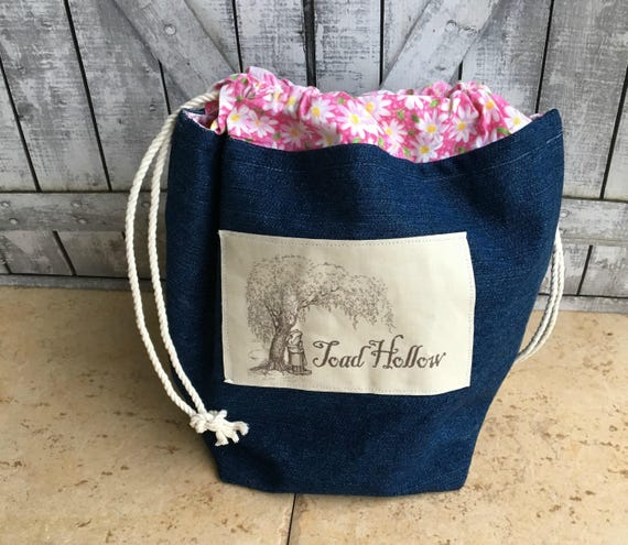 Knitting Project Bag - Toad Hollow, Crochet Project bag, Toad Hollow Bag, Crochet Project, Blue Jean Bag,drawstring bag, Knitting Bag