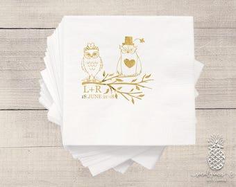 Personalized Wedding Napkins | Bride Groom Owl Napkins | Monogrammed Napkins | Custom Foil Napkins | Owl Wedding Napkins
