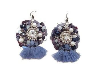 Blue Tassel Earrings - Blue Beaded Earrings - Blue Boho Earrings - Beaded Boho Earrings - Boho Tassel Earrings - Tassel Earrings