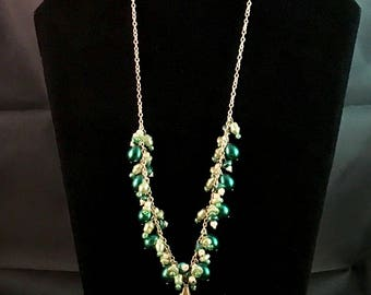 Green Cluster Pearl Turtle Necklace
