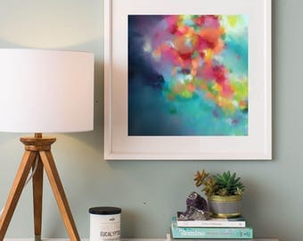 Wall Art, Fine Art Print, Ready to Frame Print, Colourful Art, Rainbow Abstract, Original Painting, Giclee Print by Corinne Melanie