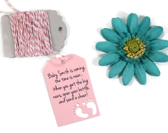 Baby is Coming Baby Shower Tags 20pc - Open Your Bottle - Light Pink Baby Feet Tags - Wine Favors - Send a Cheer - Baby Girl Favors