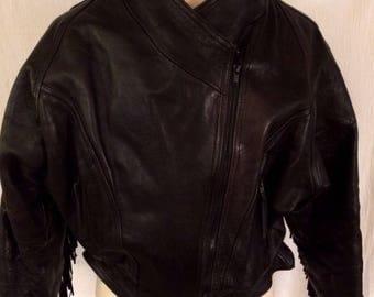 Motorcycle Biker Black Leather Jacket Zipper Pockets Women's Fringe Contour
