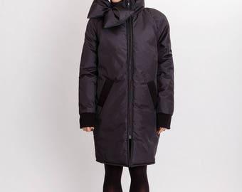 Duvet woman's jacket / Long warm winter black jacket / Fashion unusual long jacket / Big bow front unique woman's coat / Fasada 17168