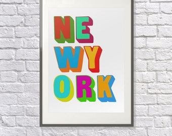 New York Poster -  New York Art  - New York Print - New York Visitor - New York Gift - New York Souvenir - New York Memento - NYC - Tourist