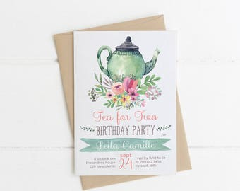 Tea for Two Birthday Invitations, Tea Party Invite Printable, Tea Pot, Florals, Watercolor, Garden 2nd Birthday, Three 3rd, 4th, 5th, 60th