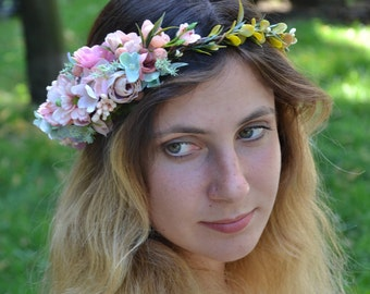 Bridal flower crown Bridal floral crown Boho flower wreath Rustic flower crown Rustic flower wreath Wedding flower headband Gift for her
