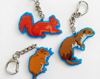 "2"" Acrylic animal keyrings"