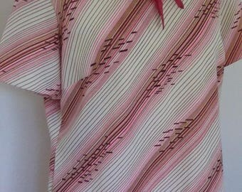 Vintage dress 60s 70s pink striped dress with collar and pussy bow size extra large XL