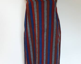 Vintage striped maxi dress sleeveless navy blue red grey wool mix fabric size small