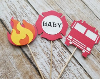 Firefighter Cupcake Toppers... Baby boy... Baby Shower... Fireman...