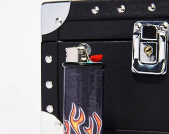 Old School Fire/Flames Bic Lighter Case