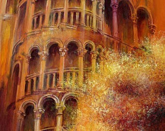 Bovolo - limited edition print / Venice print / from an original acrylic painting / by D Y Hide