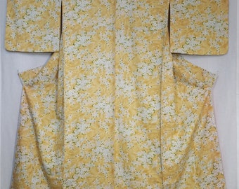 Women's vintage, unused kimono - floral mum and plum blossom over goldenrod suminagashi marble pattern