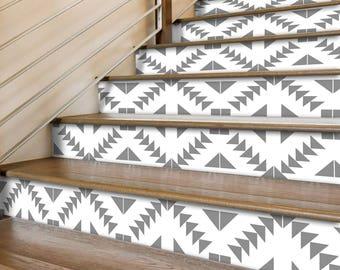 """Stair Riser Stickers - Removable Stair Riser Tile Decals - Zigzag Pack of 6 in Grey - Peel & Stick Stair Riser Deco Strips - 48"""" long"""