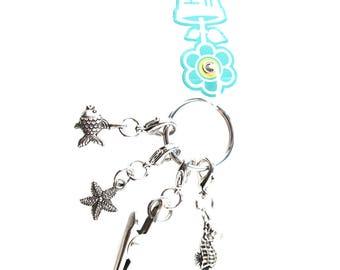 Under the Sea Roach Clip Keyfinder Keychain Starfish Seahorse Fishy Fish Charms 420 Marijuana Alligator Clip Key Chain Handmade Hand Crafted