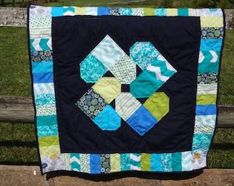 Baby Boy Quilt - Patchwork Quilt - Heart Spin Quilt - Baby Boy Blanket -  Handmade Quilt