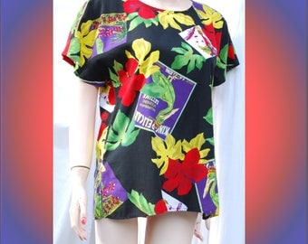 Camp Anderson foliage and seed packet top, 1990's sz petite...Carol Anderson