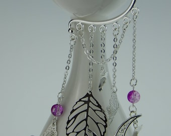 Butterfly Earrings Lilac/White silver color-handmade