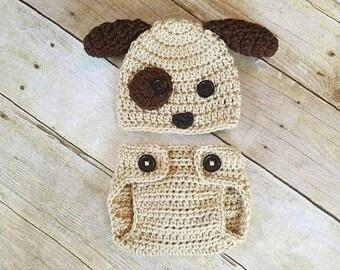 Newborn Puppy Outfit, Baby Puppy Outfit, Newborn Puppy Hat, Newborn Photo Prop, Dog, Baby Halloween Costume, New Mom Gift, Baby Shower Gift