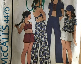 McCalls 4475 - 1970s Girl's Halter Crop Top, Button FrontShirt, Shorts, and Pants - Size 7 Chest 26