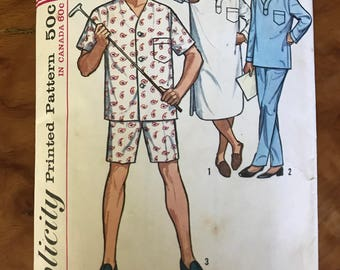 Simplicity 5039 - 1960s Mens Pajama Set and Nightshirt - Size Large 42 44