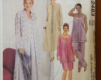 McCalls 2483 - Loose Scoop Neck Top with Pull on Pants or Skirt and Duster Jacket with Band Collar - Size 18-24
