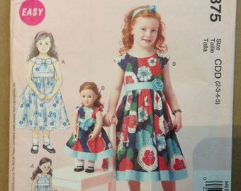 McCalls M6875 Little Girls & Matching Doll Laura Ashley Dress with Raised Waist and Bow or Rosette - Size 2 3 4 5