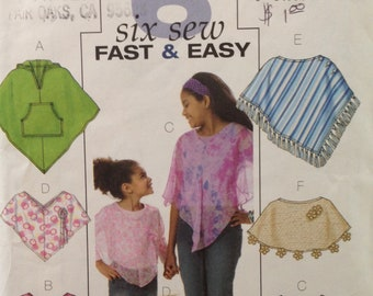 Butterick B4545 - Fast and Easy Girl's Poncho with Pocket, Hood, and Trim Options - Size M L