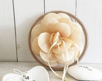 EXPRESS SHIPPING, Ring Pillow Alternative, Ring Bearer Pillow, Ring Holder, Hoop, Organza Flower, Apricot, Gold, Champagne, Boho Wedding