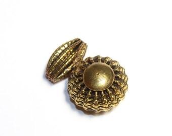45x30mm Gold Tone Brass Round n Dolki Pendant / Designer Fancy Pendant / Antiqued Brass Beads Pendant / MB13