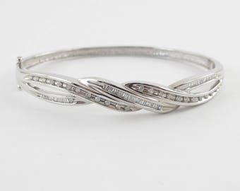 14k White Gold Diamond Bangle Bracelet - 14k Gold Diamond Bracelet 7 Inches 0.50 carat