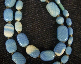 Vintage Blue And White Glass Bead 22 Inch Necklace.